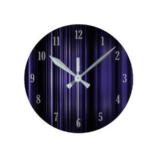 Purple blurred stripes pattern round clock