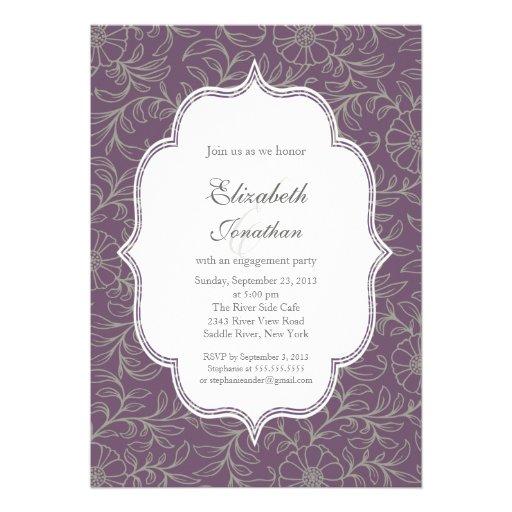 Purple Bohemian Floral Engagement Party Custom Invites