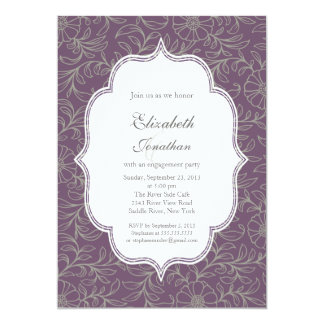 "Purple Bohemian Floral Engagement Party 5"" X 7"" Invitation Card"