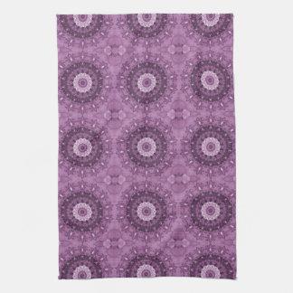 Purple Boho Chic Abstract Kaleidoscope Tea Towel