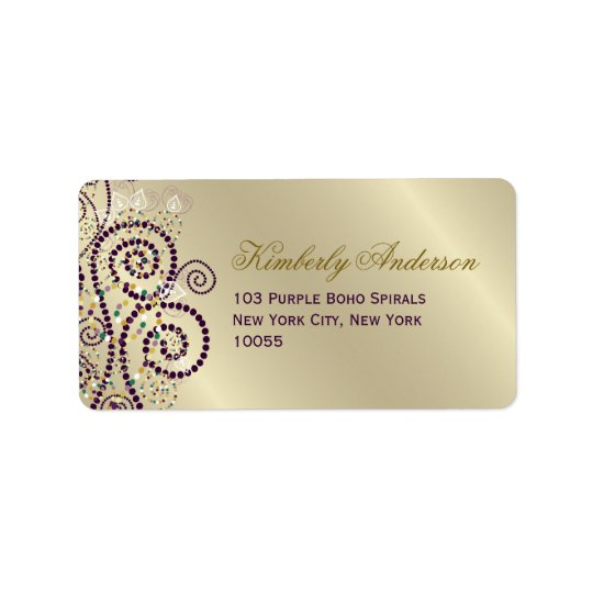 Purple Boho Spirals Birthday Wedding Address Label