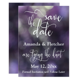 Purple Bokeh Light & Typography 32 Save the Date Card