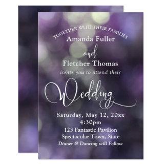 Purple Bokeh Light & Typography 32 Wedding 3 Card
