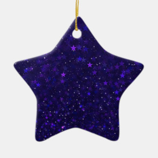 Purple Bokeh Stars Christmas Ornament