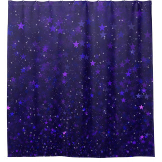 Purple Bokeh Stars Shower Curtain