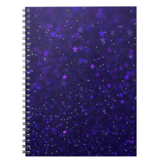 Purple Bokeh Stars Spiral Notebook