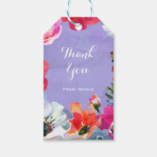 Purple Bold Painted Floral Pop Chic Party Favor Gift Tags