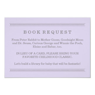 Purple Book Request | Baby Shower Enclosure Card 9 Cm X 13 Cm Invitation Card