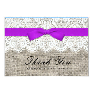 Purple Bow and Lace Wedding Thank You Card