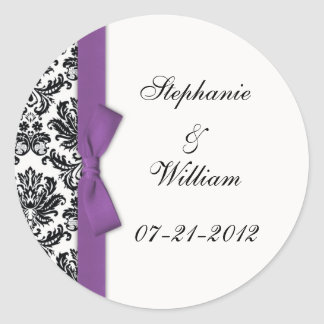 Purple Bow Classic Damask Wedding Label