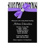 Purple Bow Diamond Heart Zebra Baby Shower 13 Cm X 18 Cm Invitation Card