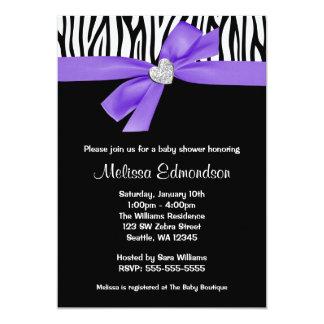 Purple Bow Diamond Heart Zebra Baby Shower Card