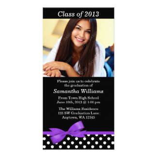 Purple Bow Polka Dot Graduation Party Announcement Personalized Photo Card