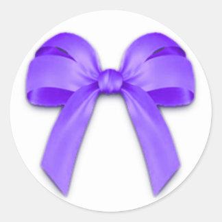 Purple Bow Round Sticker