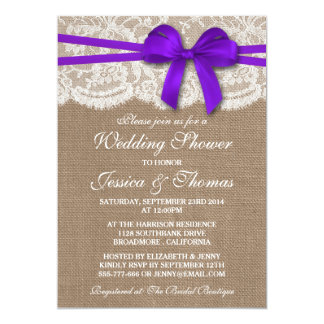 Purple Bow Rustic Burlap & Lace Wedding Shower Card