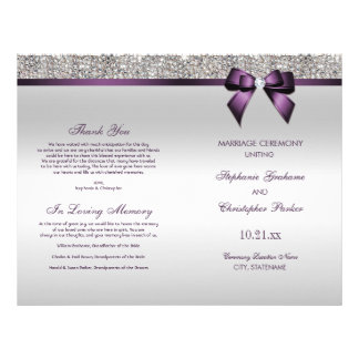 Purple Bow Silver Sequins Wedding Ceremony Program 21.5 Cm X 28 Cm Flyer