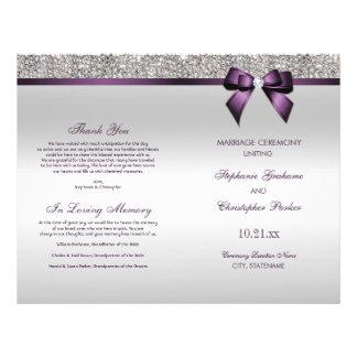 Purple Bow Silver Sequins Wedding Ceremony Program Flyer