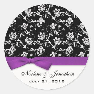Purple Bow Wedding Flower Sticker