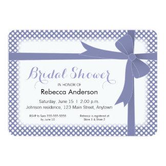 Purple Bow & White Dots Bridal Shower 13 Cm X 18 Cm Invitation Card