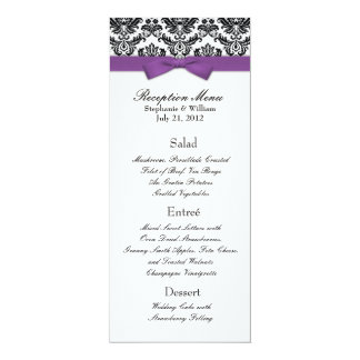 Purple Bow with Damask Wedding Reception Menu Card