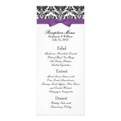 Purple Bow with Damask Wedding Reception Menu Invite
