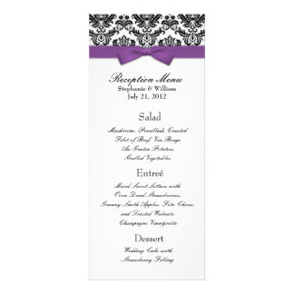 Purple Bow with Damask Wedding Reception Menu Invite