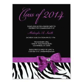 Purple Bow with Zebra stripes Class of 2014 Card