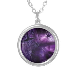 Purple Brain Neurons Silver Plated Necklace