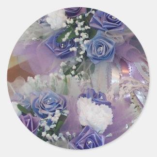 Purple Bridal Flowers Round Sticker