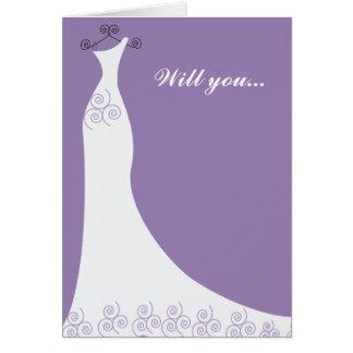 Purple Bridal Gown Bridesmaid Greeting Card