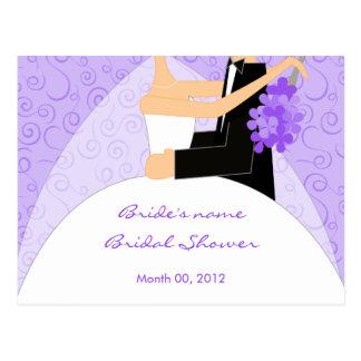 Purple Bridal Shower Advice Cards Postcard