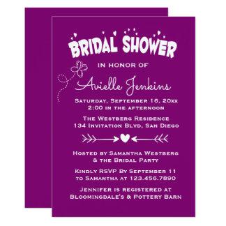 Purple Bridal Shower Hearts & Butterfly Love Card
