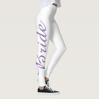 Purple BRIDE Wedding Cake Bridal Leggings