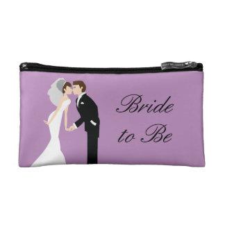 Purple Bride Wedding Cosmetic Bag
