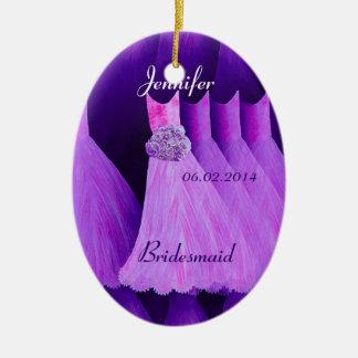 PURPLE Bridesmaid Thank You Wedding Ceramic Oval Decoration
