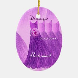 Purple Bridesmaid Thank You Wedding V001 Ceramic Oval Decoration