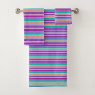Purple Bright Stripes Bathroom Towel Set