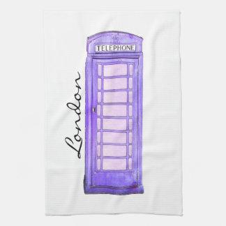 Purple - British phone booth - London - tea towel