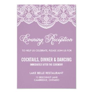 Purple Brocade Lace Wedding Reception Card 9 Cm X 13 Cm Invitation Card