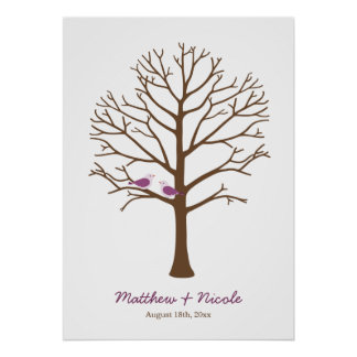 Purple Brown Birds Fingerprint Tree Wedding Poster