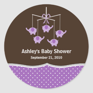 Purple & Brown Elephant Mobile Baby Shower Stickers