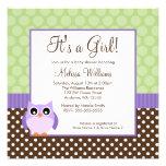 Purple Brown Green Owl Polka Dot Girl Baby Shower Announcement