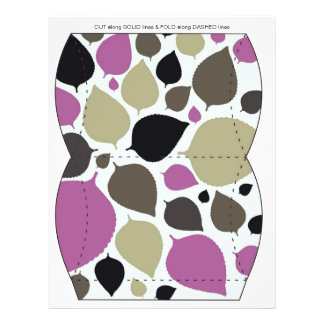 Purple & Brown leaves Pillow Puff Box Template 21.5 Cm X 28 Cm Flyer