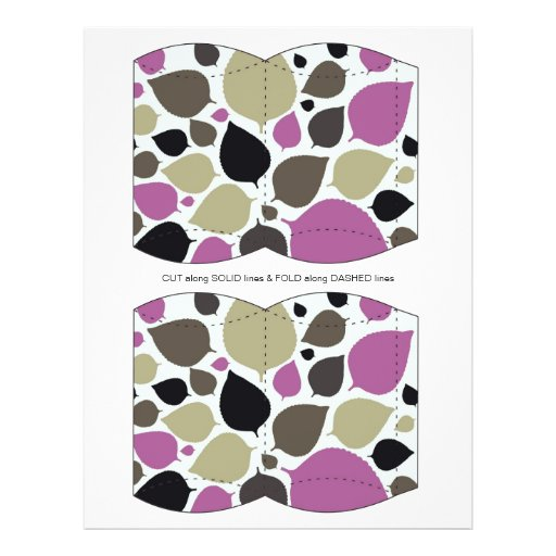 Purple & Brown leaves Pillow Puff Box Template Flyers