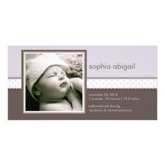 Purple | Brown Sweet Baby Girl Birth Announcement Card