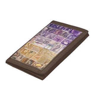 Purple Brown Wallet, Desert Landscape, Travel Art Tri-fold Wallets