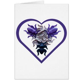 Purple Bugs in Heart Card