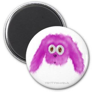 Purple Bunny Critter 6 Cm Round Magnet