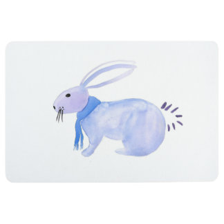 Purple Bunny In A Blue Scarf Floor Mat