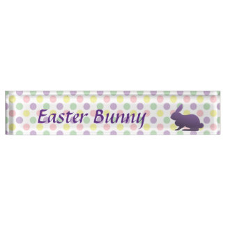 Purple Bunny on Pastel Dots Name Plate